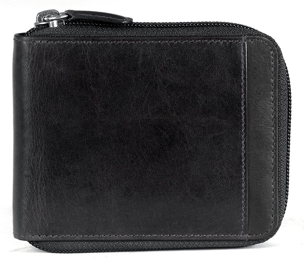 Mancini CASABLANCA Collection Men's Zippered Wallet with Removable Passcase (RFID Secure) - Black