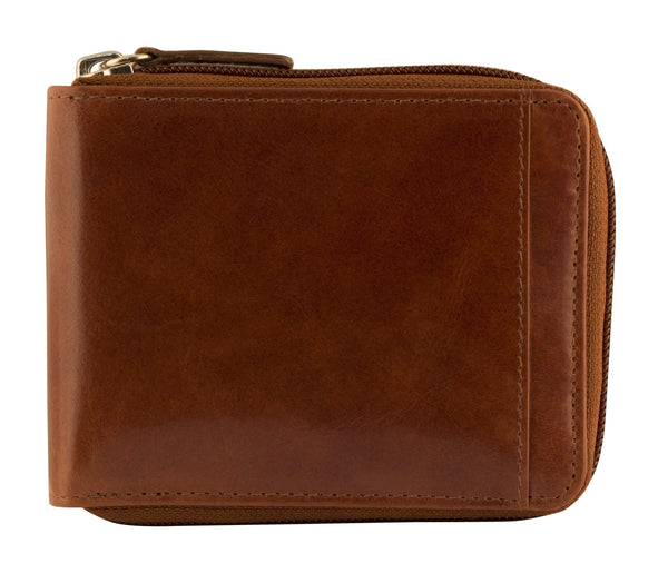 Mancini CASABLANCA Collection Men's Zippered Wallet with Removable Passcase (RFID Secure) - Cognac
