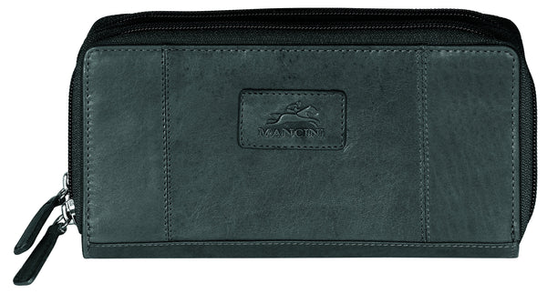 "Mancini CASABLANCA Collection Ladies' Double Zipper ""Clutch"" Wallet (RFID Secure) - Black"