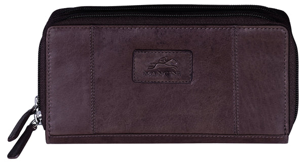 "Mancini CASABLANCA Collection Ladies' Double Zipper ""Clutch"" Wallet (RFID Secure) - Brown"