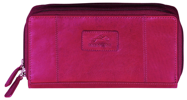 "Mancini CASABLANCA Collection Ladies' Double Zipper ""Clutch"" Wallet (RFID Secure) - Red"