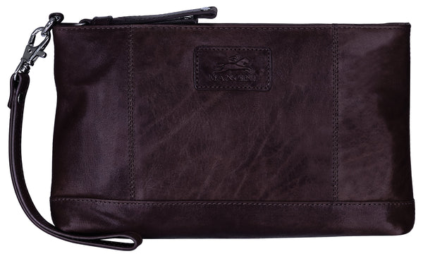 "Mancini CASABLANCA Collection Ladies' "" Wristlet"" (RFID Secure) - Brown"