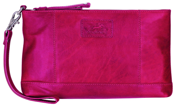 "Mancini CASABLANCA Collection Ladies' "" Wristlet"" (RFID Secure) - Red"