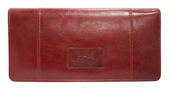 Mancini CASABLANCA Ladies' RFID Secure Trifold Wallet - Red