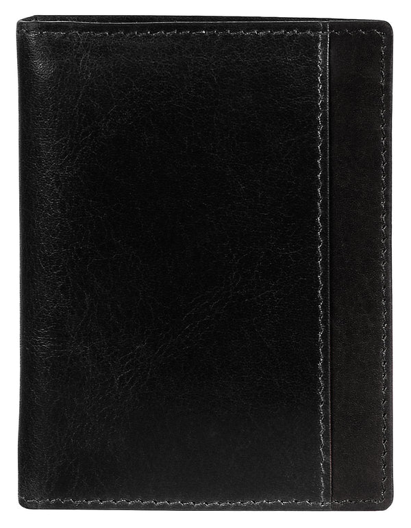 Mancini CASABLANCA Collection Men's Unique Vertical Wing Wallet (RFID Secure) - Black