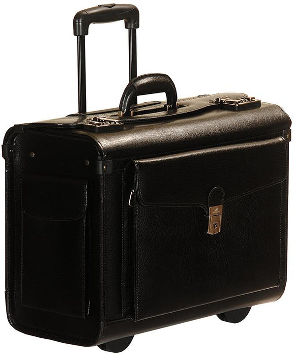 Mancini BUSINESS Collection Deluxe Leather Wheeled Catalog Case - Black