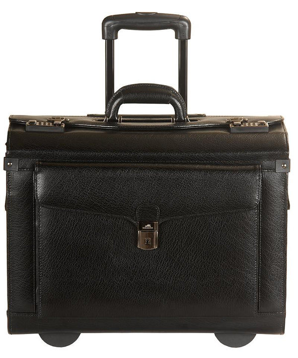Mancini BUSINESS Collection Deluxe Leather Wheeled Catalog Case