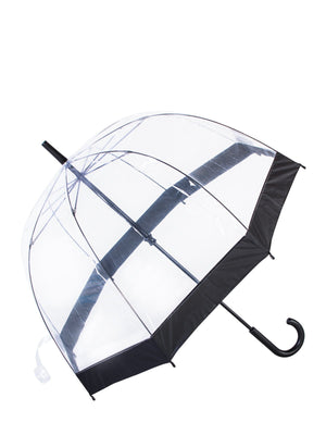 Knirps Clear POE Dome Stick Umbrella With 10 cm Wide Black Border