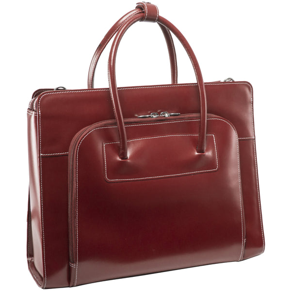 McKlein Lake Forest Ladies' Leather Briefcase with Removable Sleeve - Red