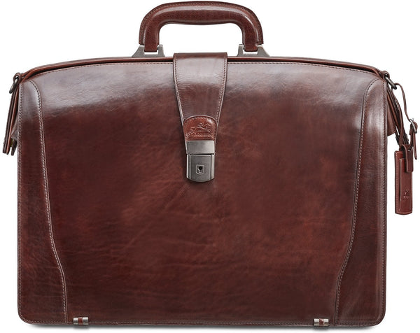 Mancini VANIZIA Collection Laptop Compatible Litigator Briefcase with RFID Secure Pocket - Brown