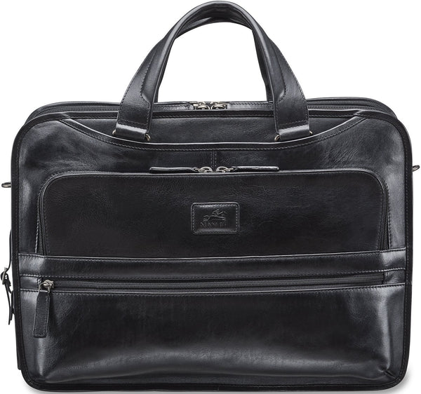 Mancini VANIZIA Collection Laptop / Tablet Compatible Triple Compartment Briefcase with RFID Secure Pocket - Black