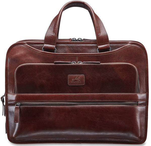 Mancini VANIZIA Collection Laptop / Tablet Compatible Triple Compartment Briefcase with RFID Secure Pocket - Brown