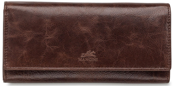 Mancini BRIDGE Ladies' RFID Secure Trifold Wallet - Brown