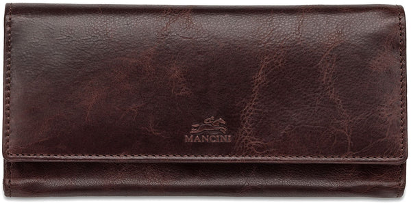 Mancini BRIDGE Ladies' RFID Secure Trifold Wallet - Burgundy