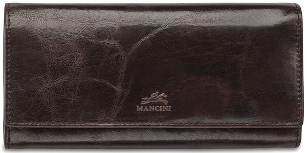 Mancini BRIDGE Ladies' RFID Secure Trifold Wallet - Dark Brown