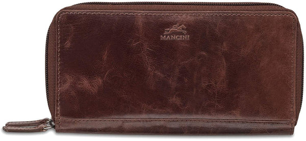 Mancini BRIDGE Ladies' RFID Secure Medium Clutch Wallet - Brown