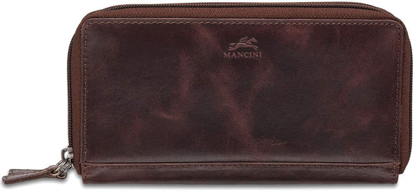 Mancini BRIDGE Ladies' RFID Secure Medium Clutch Wallet - Burgundy
