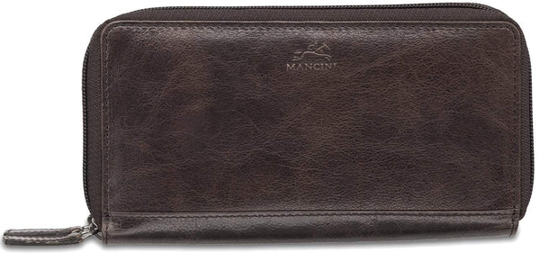 Mancini BRIDGE Ladies' RFID Secure Medium Clutch Wallet - Dark Brown