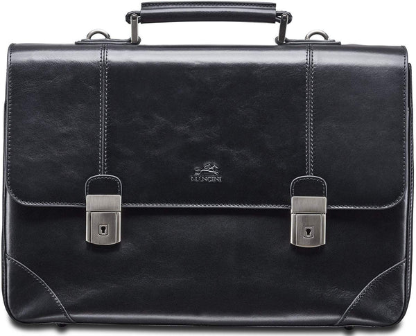 Mancini SIGNATURE Collection Laptop / Tablet Compatible Double Compartment Briefcase - Black