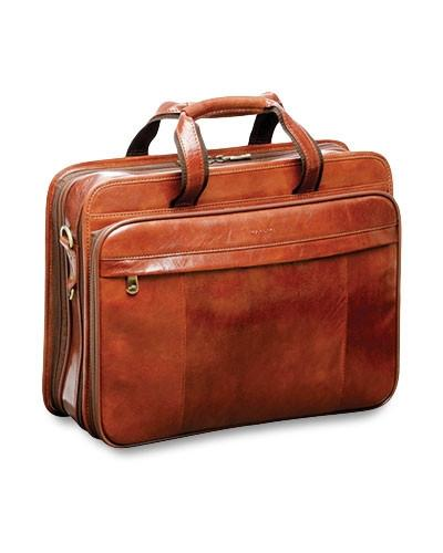 Mancini SIGNATURE Collection Double Compartment Briefcase for Laptop and Tablet - Brown
