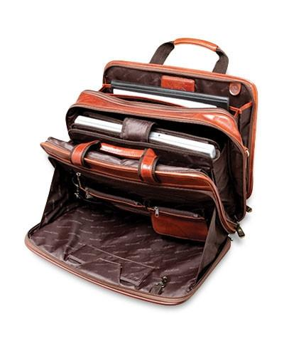 Mancini SIGNATURE Collection Double Compartment Briefcase for Laptop and Tablet