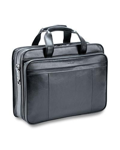Mancini SIGNATURE Collection Double Compartment Briefcase for Laptop and Tablet - Black