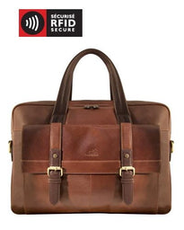 Mancini CALABRIA Collection Double Compartment Briefcase for Laptop & Tablet