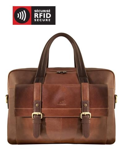 Mancini CALABRIA Collection Double Compartment Briefcase for Laptop & Tablet - Brown