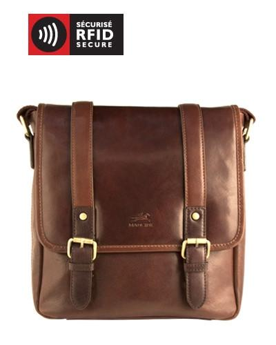 Mancini CALABRIA Collection Crossover Bag for Tablet - Brown