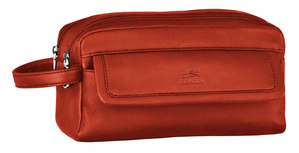 Mancini COLOMBIAN Collection Double Compartment Toiletry Kit - Cognac