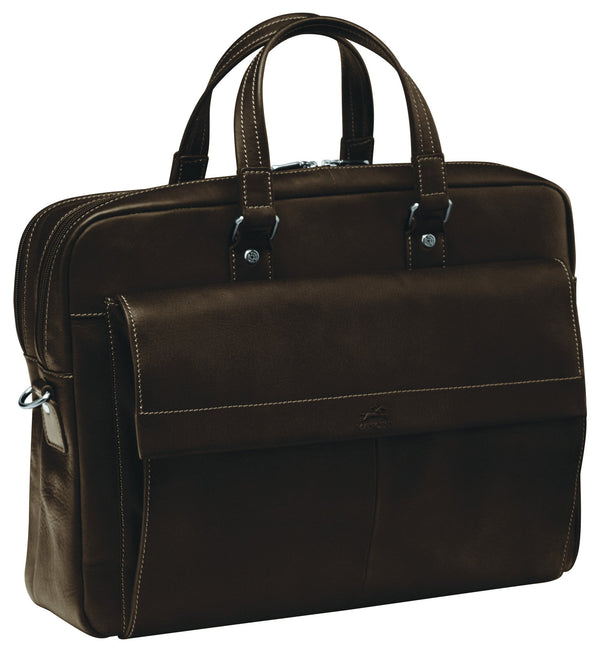 Mancini COLOMBIAN Collection Double Compartment Briefcase for Laptop and Tablet - Brown