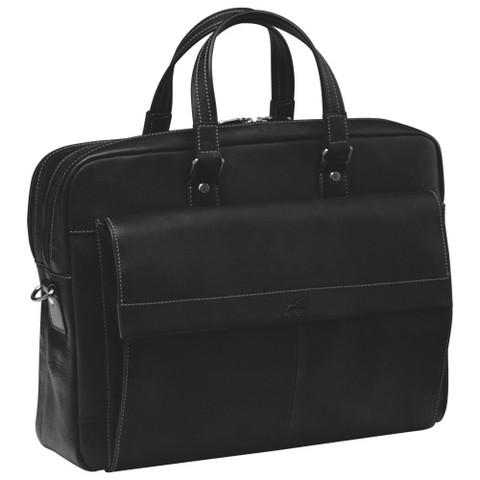 Mancini COLOMBIAN Collection Double Compartment Briefcase for Laptop and Tablet - Black
