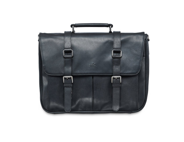 Mancini BUFFALO Single Compartment Briefcase for 15'' Laptop (RFID Blocking) - Black