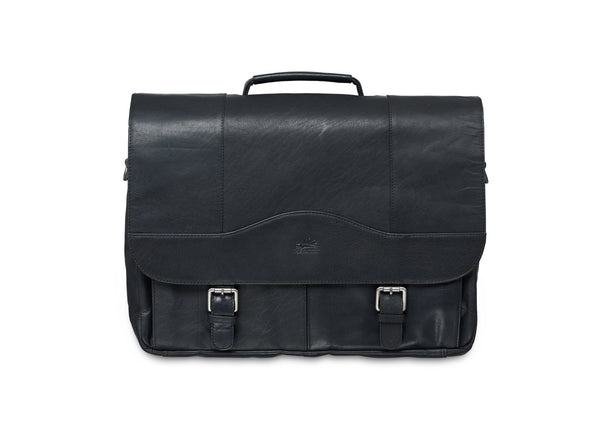 Mancini BUFFALO Porthole Briefcase for 15.6'' Laptop / Tablet (RFID Blocking) - Black
