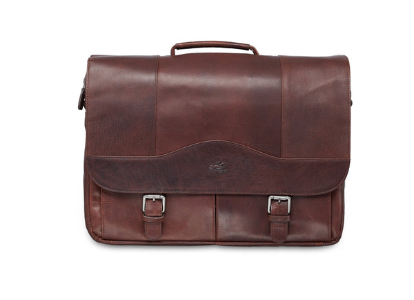 Mancini BUFFALO Porthole Briefcase for 15.6'' Laptop / Tablet (RFID Blocking) - Brown