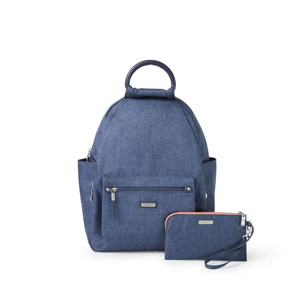 Baggallini All Day Backpack With RFID Phone Wristlet - Steel Blue