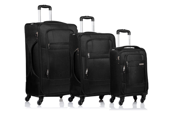 Champs Pacific Collection 3 Piece Spinner Luggage Set - Black