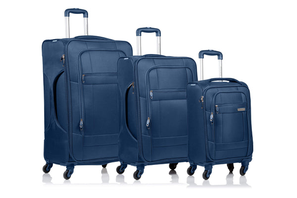 Champs Pacific Collection 3 Piece Spinner Luggage Set - Navy