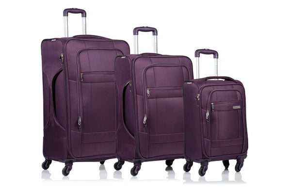 Champs Pacific Collection 3 Piece Spinner Luggage Set - Purple