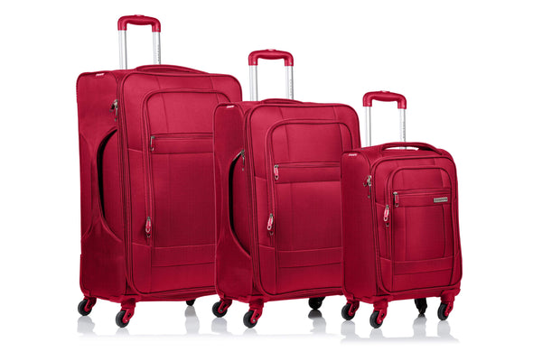 Champs Pacific Collection 3 Piece Spinner Luggage Set - Red