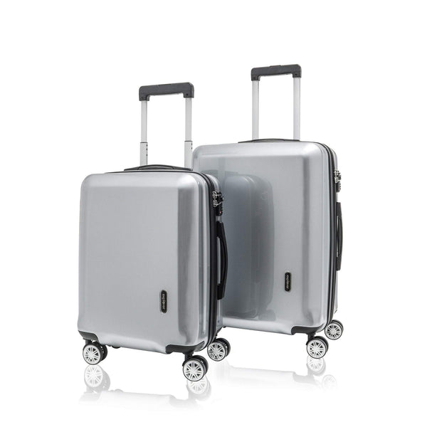 Explorer Edge 2 Piece Expandable Spinner Luggage Set (Carry On & Medium) - Silver