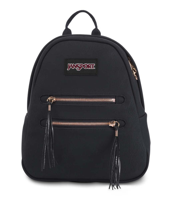 JanSport Half Pint 2 FX Mini Backpack - Black/Rose Gold Tassel