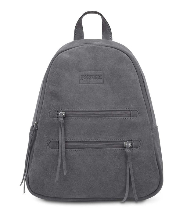 JanSport Half Pint Leather Mini Backpack - Mistral Grey Leather