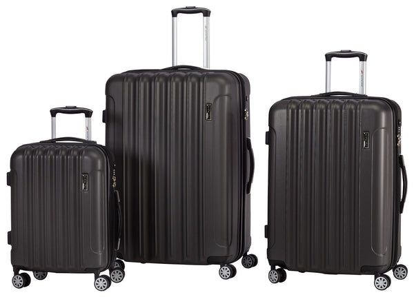 Mancini SANTA CLARA 3 Piece Lightweight Spinner Luggage Set - Charcoal Grey