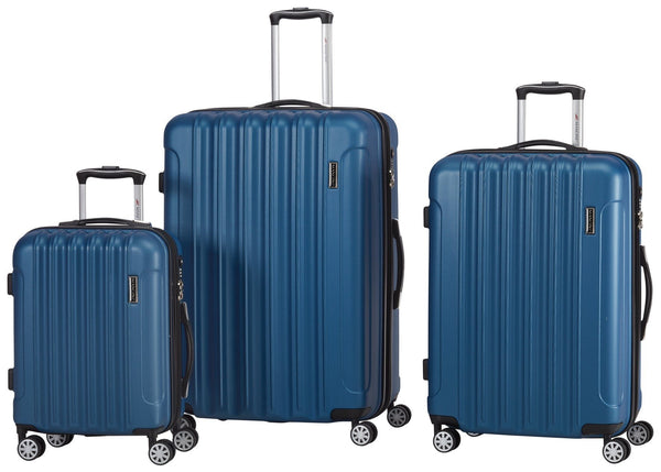 Mancini SANTA CLARA 3 Piece Lightweight Spinner Luggage Set - Metallic Blue