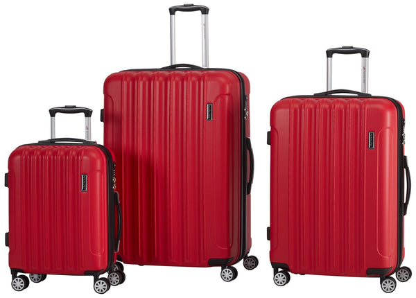 Mancini SANTA CLARA 3 Piece Lightweight Spinner Luggage Set - Red