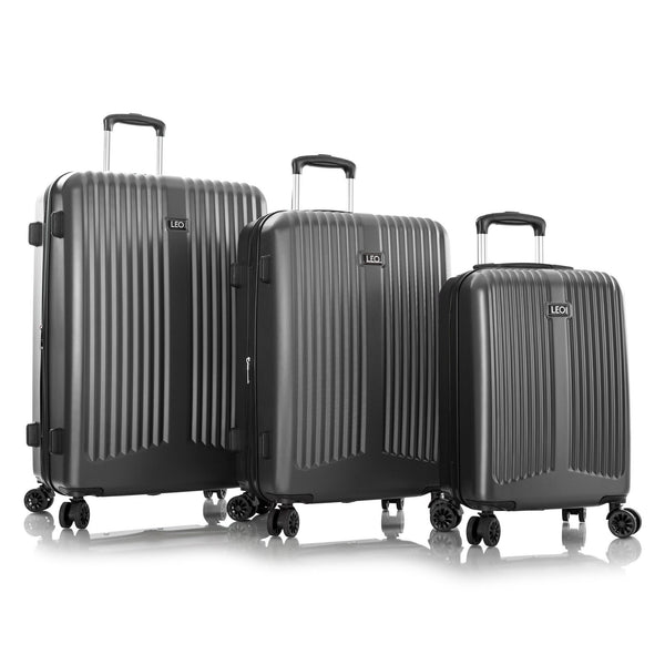 Leo By Heys Levante 3 Piece Hardside Expandable Spinner Luggage Set - Charcoal