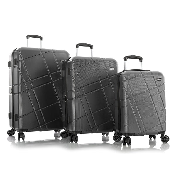 Leo By Heys Level 3 Piece Hardside Expandable Spinner Luggage Set - Charcoal