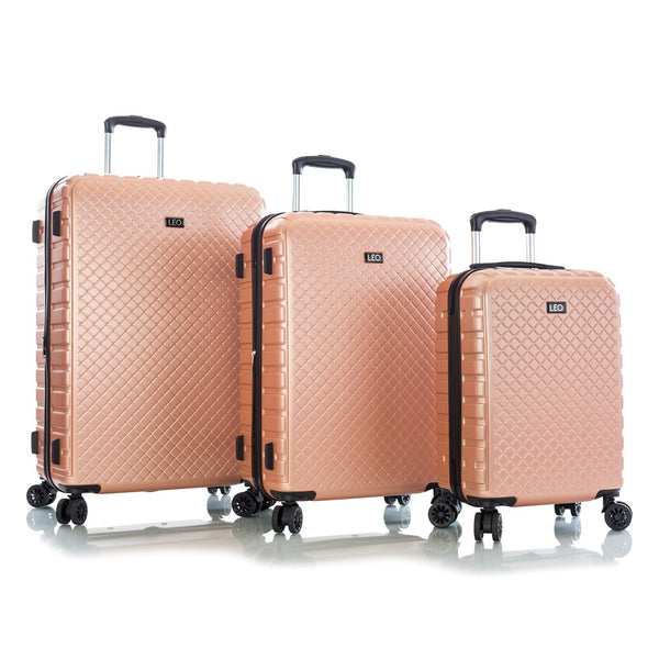 Leo By Heys Lex 3 Piece Hardside Expandable Spinner Luggage Set - Rose Gold