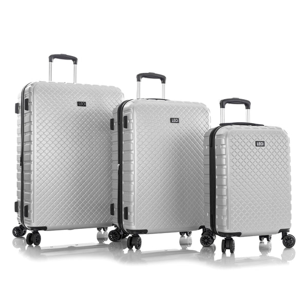 Leo By Heys Lex 3 Piece Hardside Expandable Spinner Luggage Set - Silver